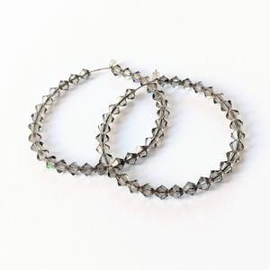 Jewelry - Grey Swarovski Crystal Bead Hoop Earrings